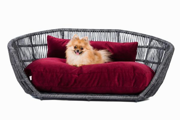 Hundebett Prado Velvet-Burgundy