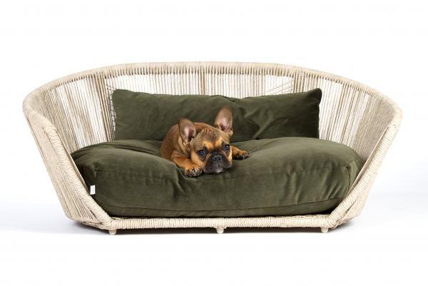 Hundebett Vogue - Velvet Olive-Green
