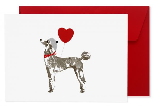 "Hundegrußkarte ""Pudel"" mit Kuvert"