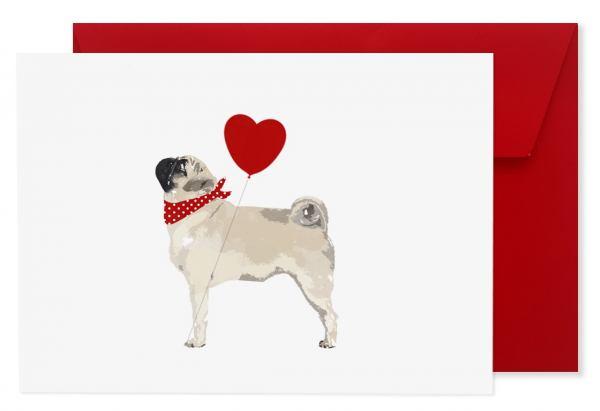 "Hundegrußkarte ""Mops"" mit Kuvert"